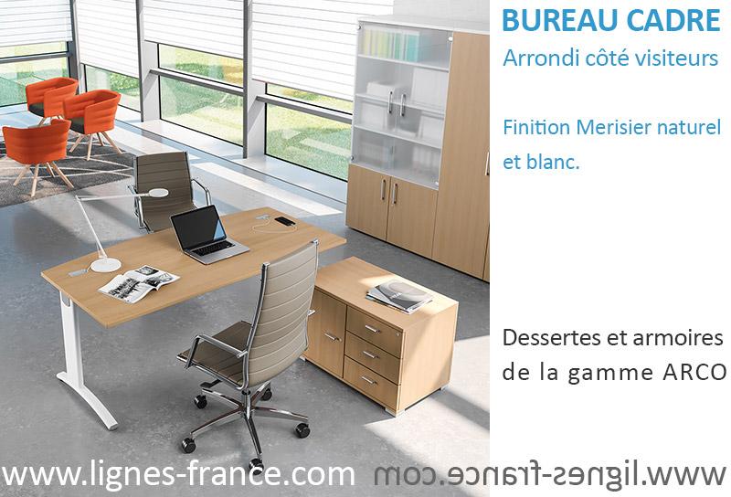 Bureau pour Cadre d'entreprise avec côté visiteurs arrondi, Ecotek