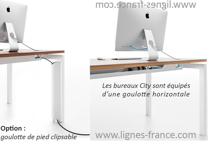 Goulotte standard et optionnelle pour les bureaux City