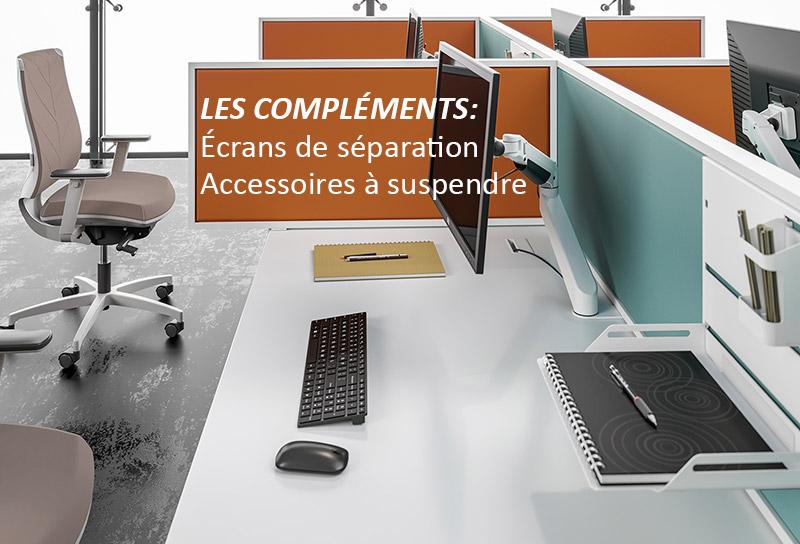 Complétez les bureaux Bench City par des écrans séparateurs et accessoires