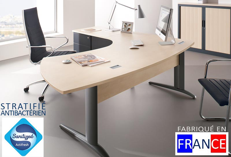 Bureau administratif individuel design, courbe, angle 90°, BALTIC