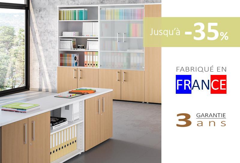 Armoire de bureau en bois pas cher et design de la gamme ARCO