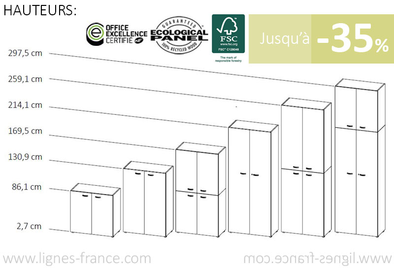 6 hauteurs d'armoires de bureau en bois MÉLODIE