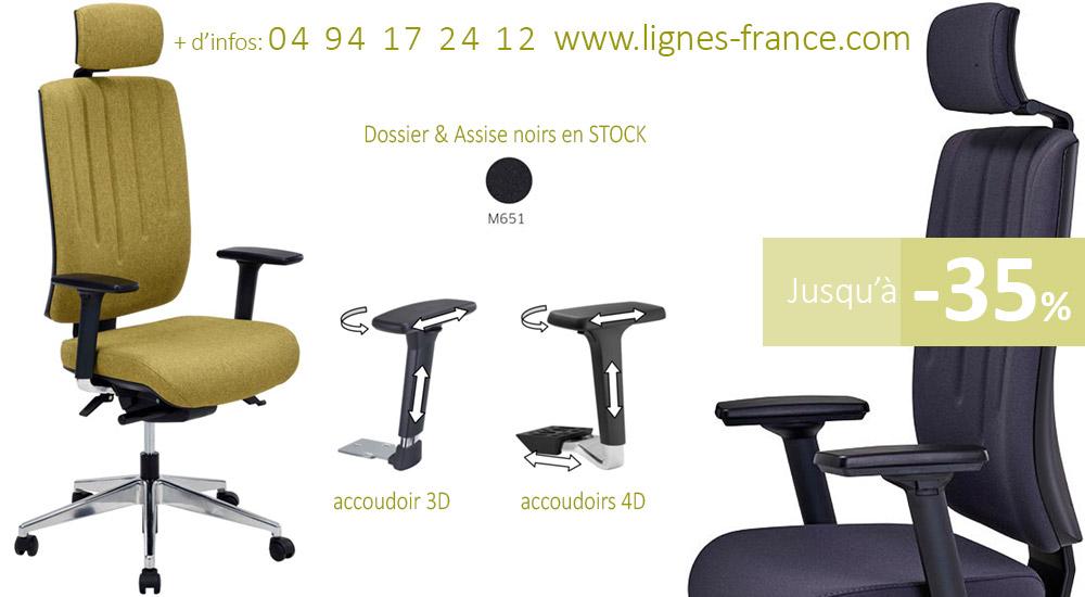 Fauteuil de bureau ergonomique avec accoudoirs réglables et appui tête, DRAKKAR